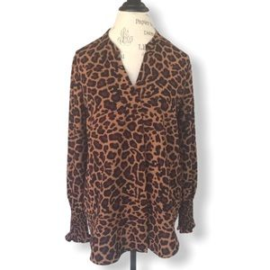 Lord & Taylor Animal Print Top with Smocked Cuff